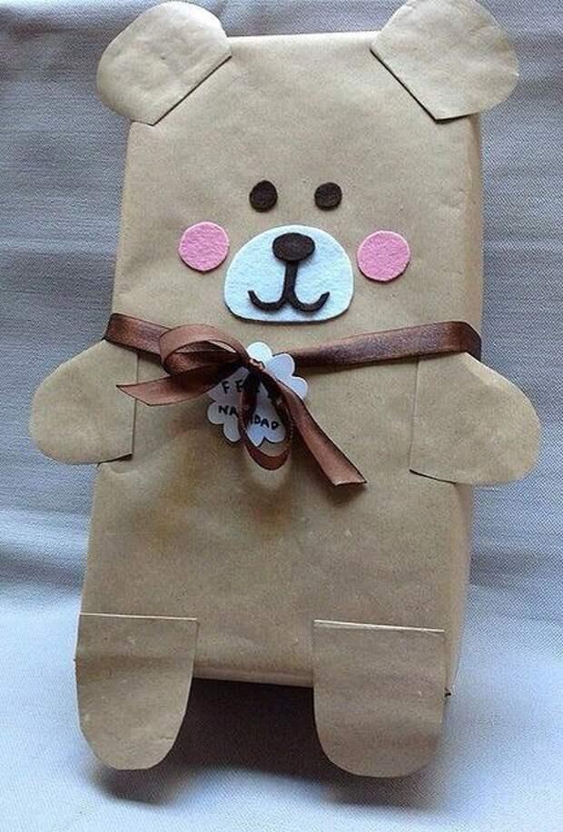 Упаковка подарка - мишка