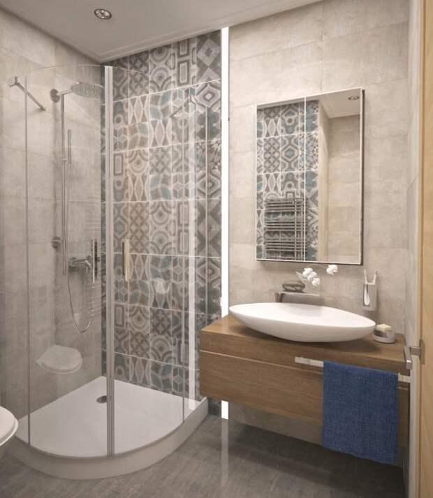 Ванная комната в квартире-студии, ванная комната с душевой кабиной