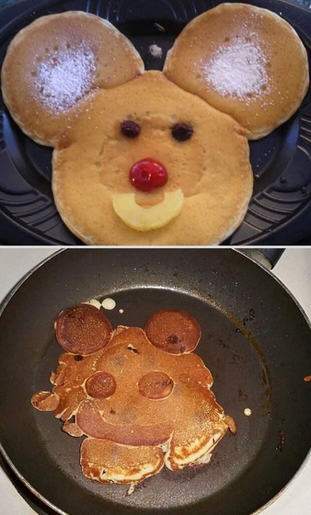 Блинчики в форме Микки Мауса еда, ожидание, провал, реальность