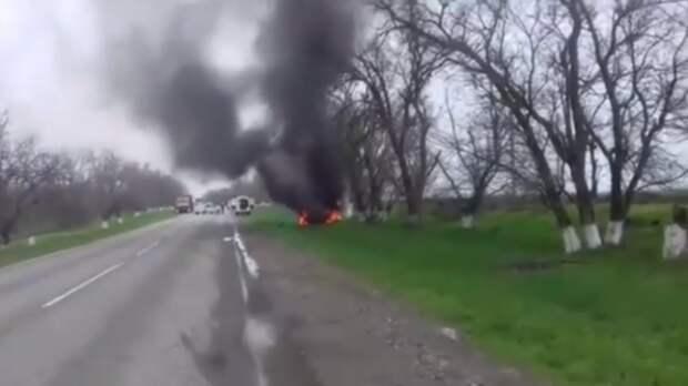 На Ставрополье лихач за рулем ВАЗа вылетел в кювет и едва не сгорел