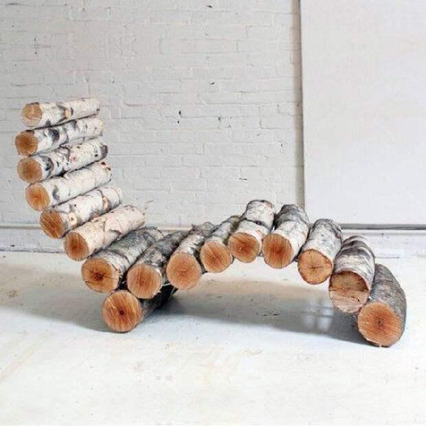 Оригинальный шезлонг из дерева. дача, идеи для дачи, своими руками