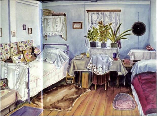 Комната Ариадны в Туруханске, в ссылке. Комнату она делит на двоих, с соседкой. Акварельные зарисовки Ариадны.