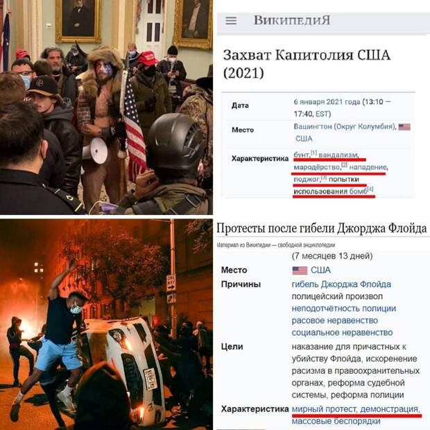 Кардинально разное отношение к BLM-протестам и штурму Капитолия