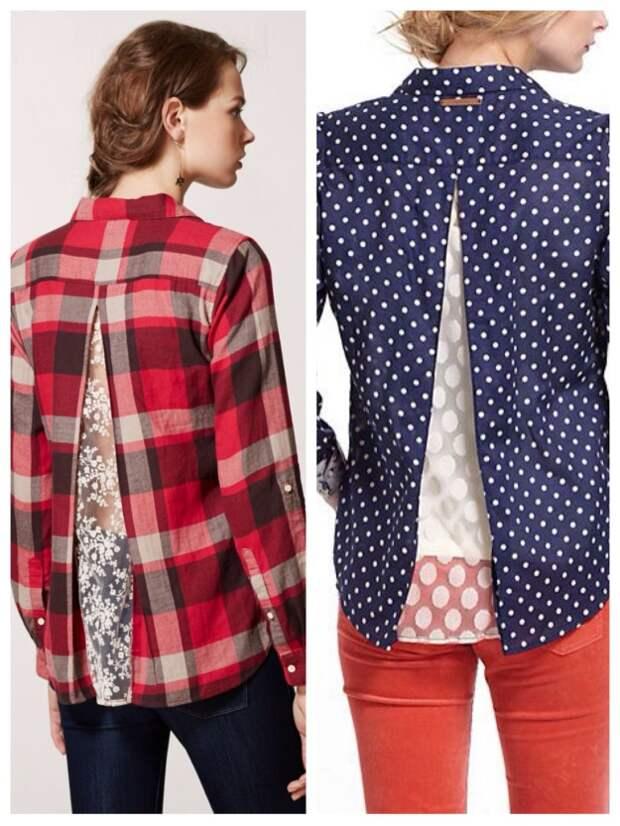 Блузка с кружевной вставкой (Diy)