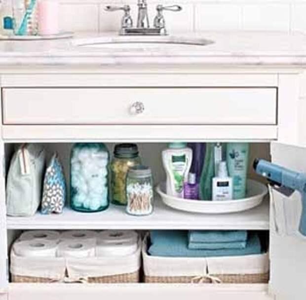 места для полотенец в шкафчике под раковиной