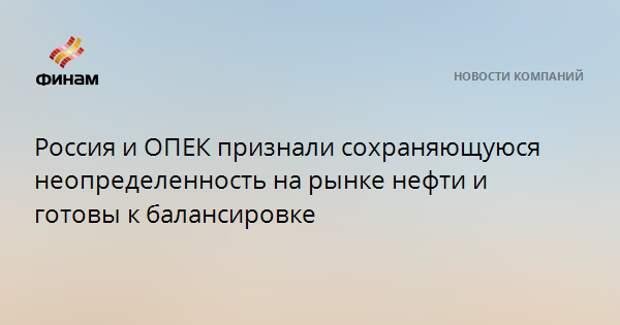 Россия и ОПЕК признали сохраняющуюся неопределенность на рынке нефти и готовы к балансировке