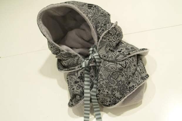 Выкройка объемного шарфа-капюшона