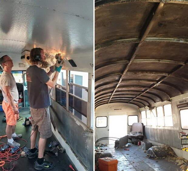 Отец и сын превратили старый школьный автобус в дом на колесах