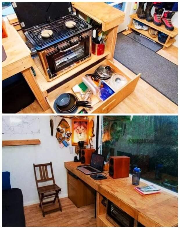 В «Крошечном доме-трансформере» удалось организовать полноценную кухню и рабочее место (дом Скотта Брукса). | Фото: hronika.info.