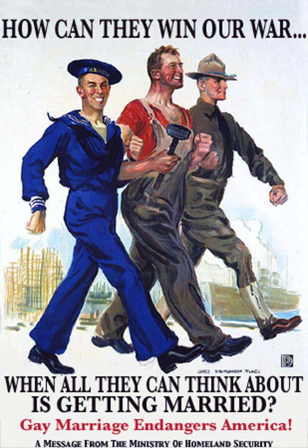 Как они могут победить на войне, когда всё, о чём они думают - это женитьба? Однополые браки угрожают Америке!