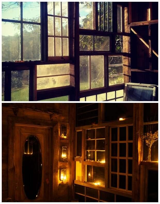 Днем хижина освещается солнечными лучами, а ночью с помощью свечей (The Sunset House, США). | Фото: huckberry.com.