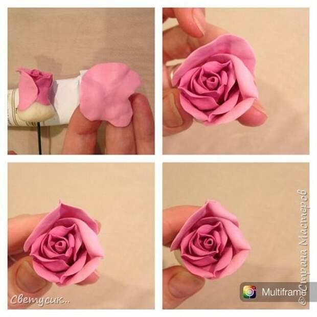 Мастер-класс Флористика искусственная Лепка МК розы из ХФ как и обещала Фарфор холодный фото 13