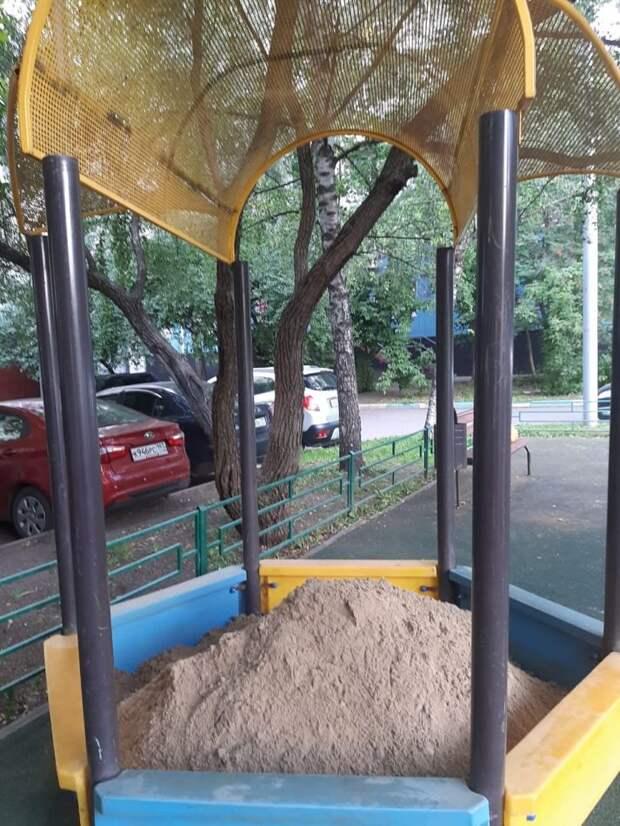 Песочница снова на привычном месте/ Предоставлено ГБУ «Жилищник района Бибирево»