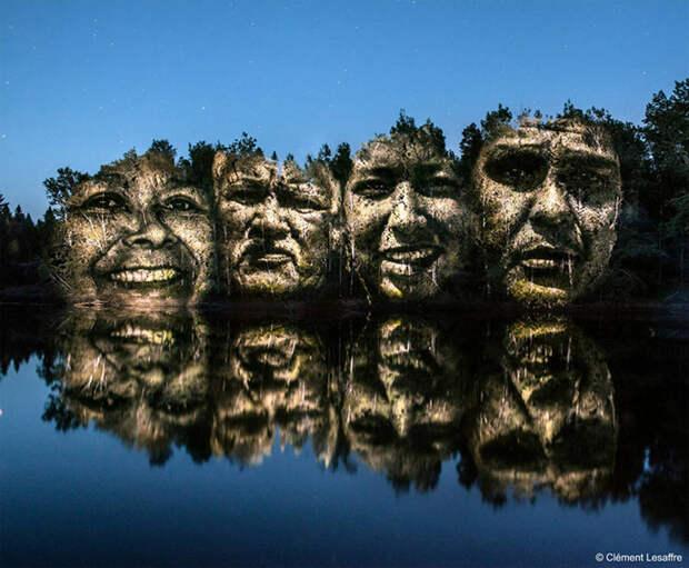 Портреты, проецированные на природный ландшафт