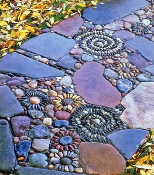 Цветочная мозаика дача, дорожки, сад