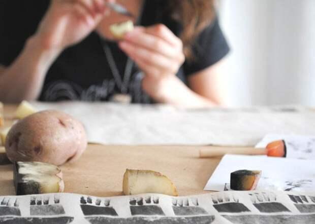 Штамп из картофеля