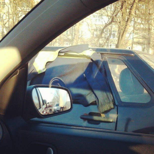 Куртка вместо окна.