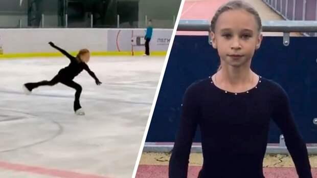 12-летняя ученица Плющенко Жилина впервые в карьере исполнила каскад аксель в 3,5 оборота — тройной тулуп: видео