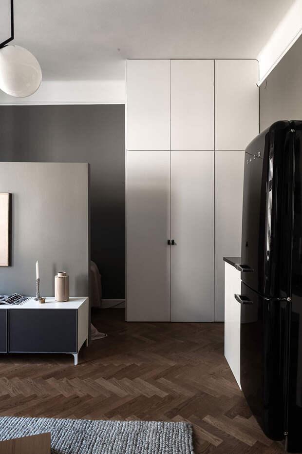 Небольшая квартира-студия с тёмными стенами и спальней за ширмой (32 кв. м)