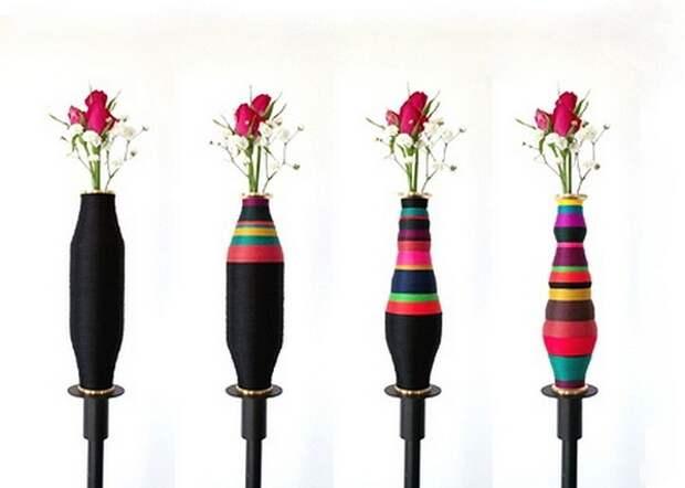 Hidden Shapes, дизайнерские вазы из катушек с нитками