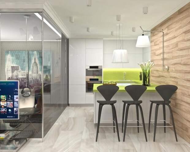 Дизайн-интерьера квартиры-студии, интерьер в современном стиле, кухня с барной стойкой
