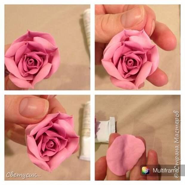 Мастер-класс Флористика искусственная Лепка МК розы из ХФ как и обещала Фарфор холодный фото 17