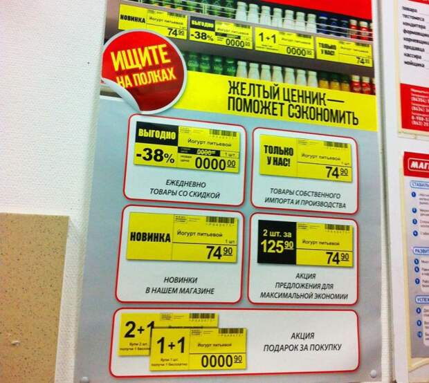 Предательские желтые ценники продукты, супермаркет