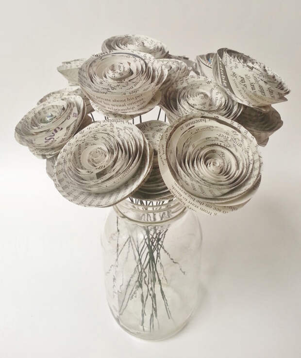 Paper Flower Bouquet - Newspaper Flower Bouquet - Handmade Rolled Paper Flower Bouquet for Brides, Weddings, Showers, Birthdays