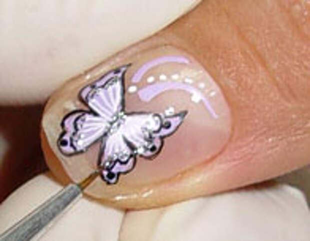 Как нарисовать бабочку на ногтях (16) (196x153, 24Kb)