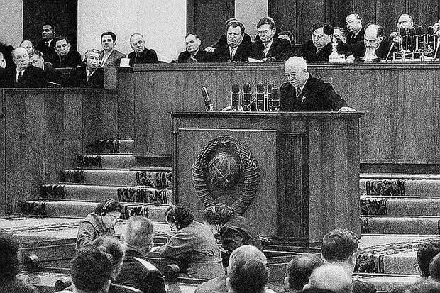 Выступление Хрущева на заседании ХХ съезда КПСС, 1956 год. Фото Василия Егорова (Фотохроника ТАСС)