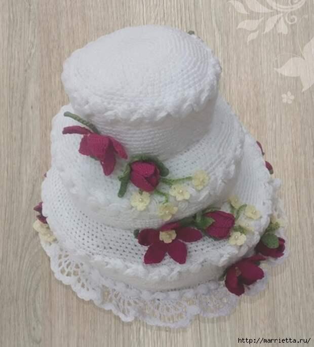 Трехэтажный торт с цветами крючком (1) (519x574, 151Kb)
