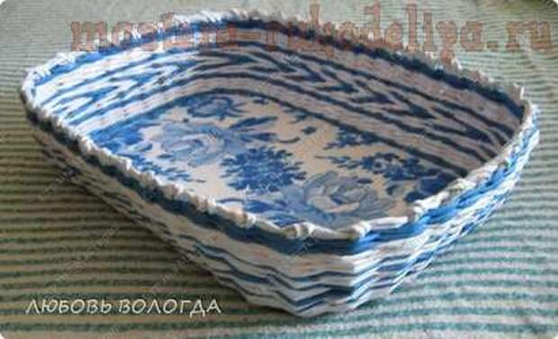 Мастер-класс по плетению из газет: Корзинка-поднос