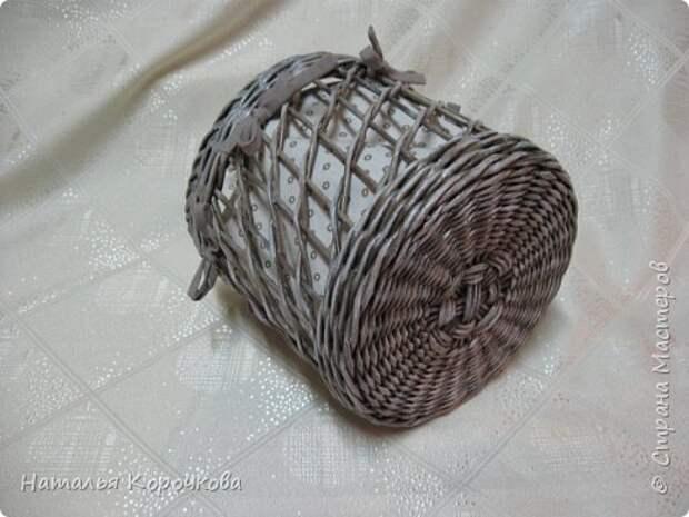 Поделка изделие Плетение Шитьё Корзинка для сушеных трав и еще кое-что Салфетки Ткань Трубочки бумажные фото 4