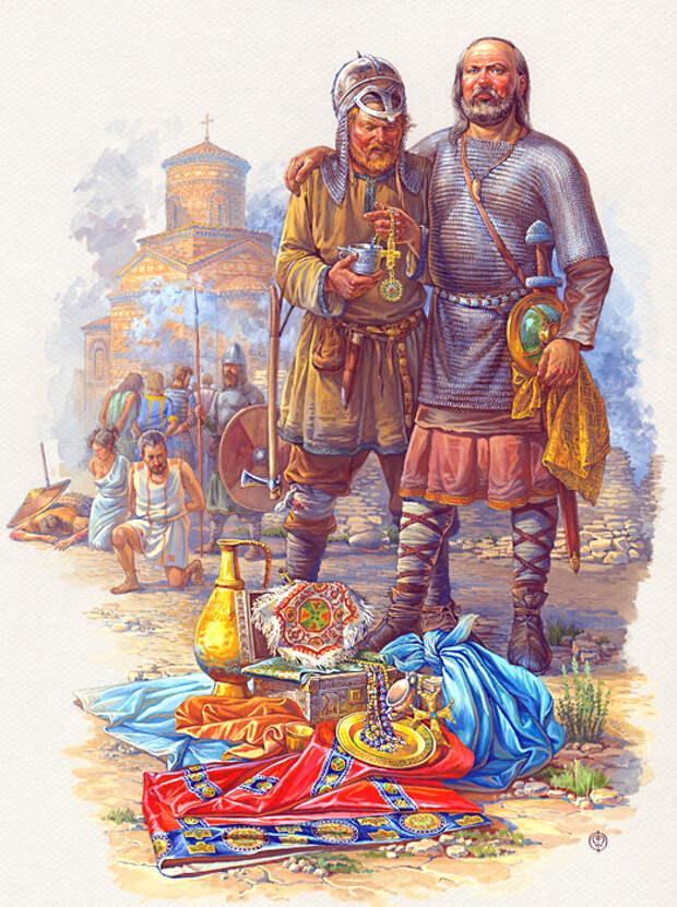 Воины дружины Святослава в Болгарии,вторая половина X века.