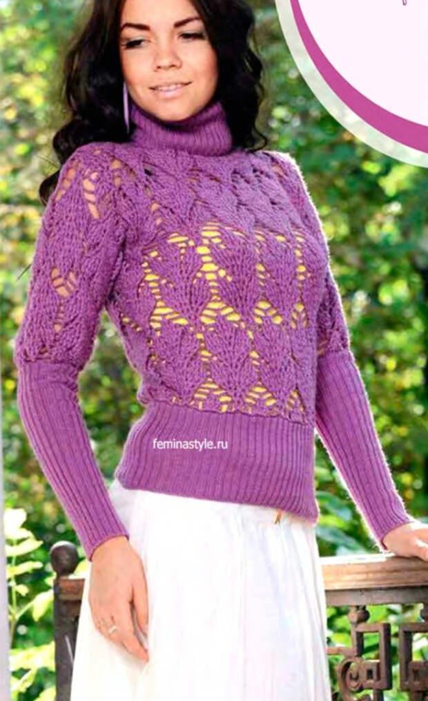 Фиолетовый свитер спицами и крючком