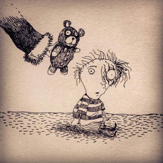 С днём рождения, мэтр! Очаровательно-пугающие рисунки Тима Бёртона