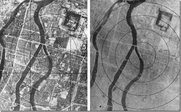 Аэрофотосъёмка Хиросимы до и после бомбандировки