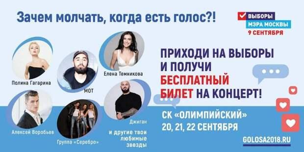 Известные российские артисты споют для молодых избирателей Москвы
