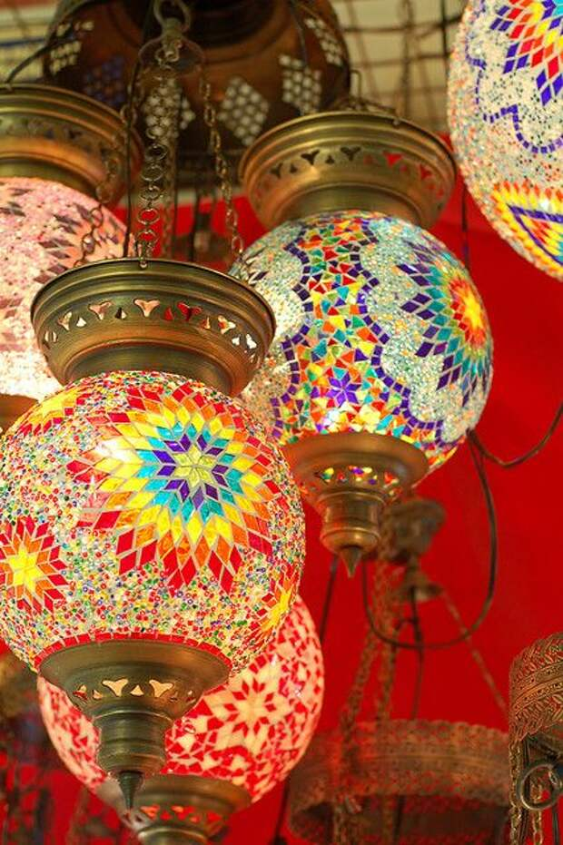 Colorful mosaic lamps