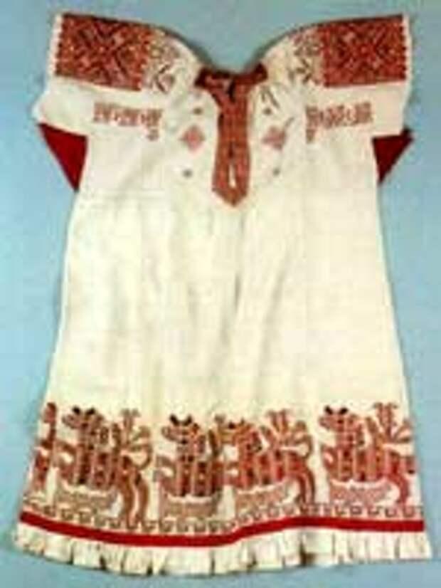 Свастика на женской рубахе, конец 19 в, Олонецкая губ.