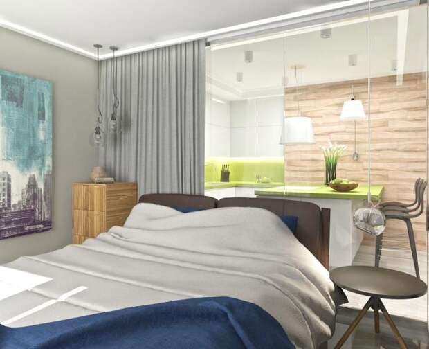 Дизайн-интерьера квартиры-студии, зона спальни в студии, современный интерьер