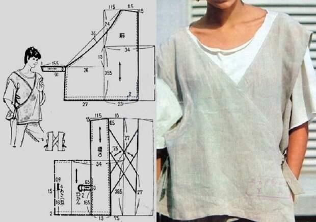 простая бохо выкройка жилета топа блузки