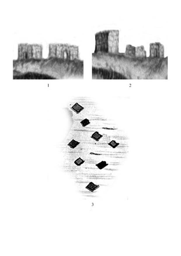 Фасадные мавзолеи Маджара: 1-2 – на рисунке М.Некрасова; 3 – на плане А.Голохвостова