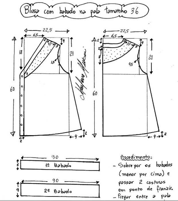 Выкройка блузки с кружевом
