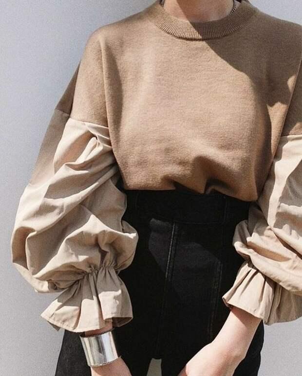переделка свитшота в нарядную блузку