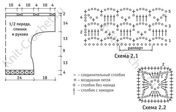 Выкройка, схемы узоров с описанием вязания крючком женской туники с цельнокроеными рукавами размера 42-44.