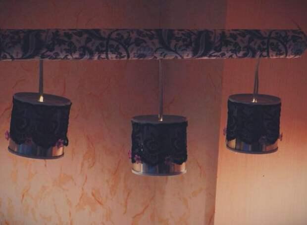 Как собрать красивый светильник из металлических баночек