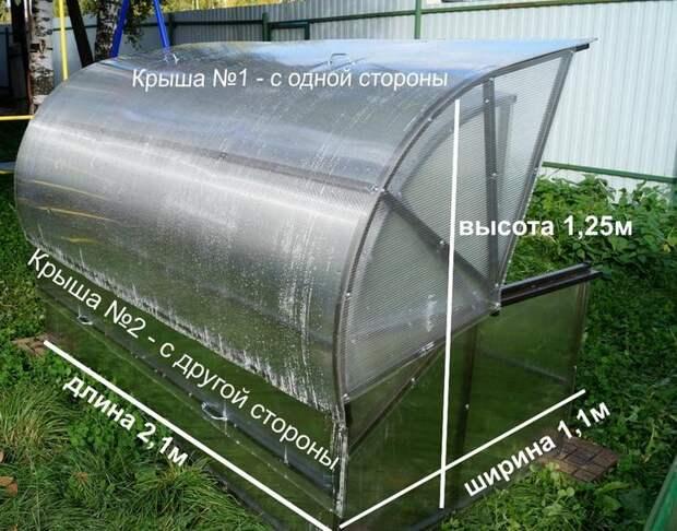 Размеры и конструкция парника Хлебница позволяют установить его даже на небольшом участке