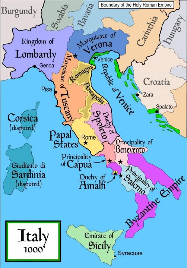 Государства на территории Италии ок. 1000 года