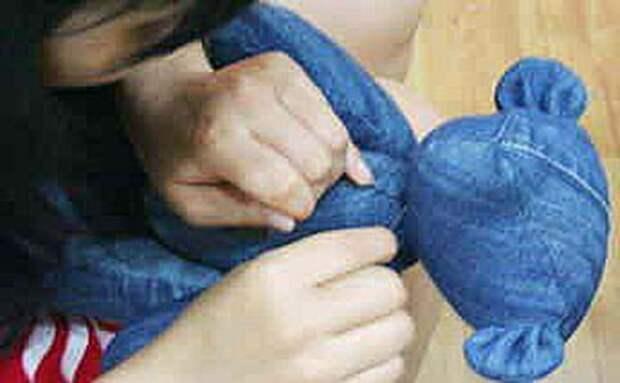 Джинсовый мишка Тедди игрушка своими руками из джинсов